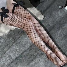 Seksi kadın çorap dantel üst kalmak uyluk yüksek çorap Hollow Out Mesh beyaz siyah naylon diz yüksek stocking Lingerie