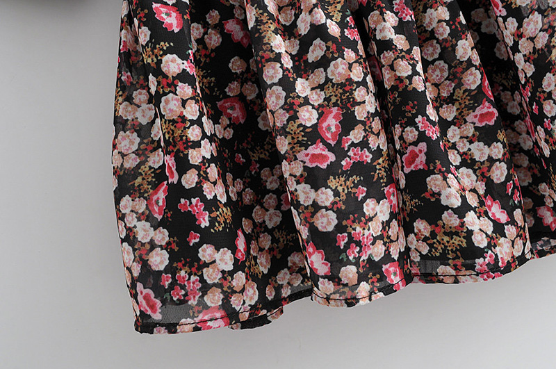 Floral Print Pleated Long Sleeve O Neck Loose Boho Dress 6