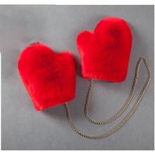 Nowe sztuczne futro z lisa rękawiczki na rękawiczki damskie podszyte PU rosyjskie rękawiczki zimowe odpinane białe futro rękawiczki łańcuchowe damskie modne rękawiczki tanie tanio Unisex Faux futra Dla dorosłych Stałe Nadgarstek Moda