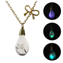 Light Bulb Shape Glowing Pendant Necklace Hollow Luminous Personality Chain  Neutral Charm Jewelry for Women