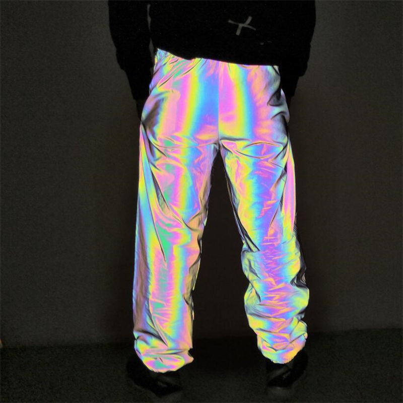 Black Reflective Long Pant Women Holographic Elastic Waist Plus Size Mesh Lining Loose Trouser 2020 Spring Sportswear Long Pants