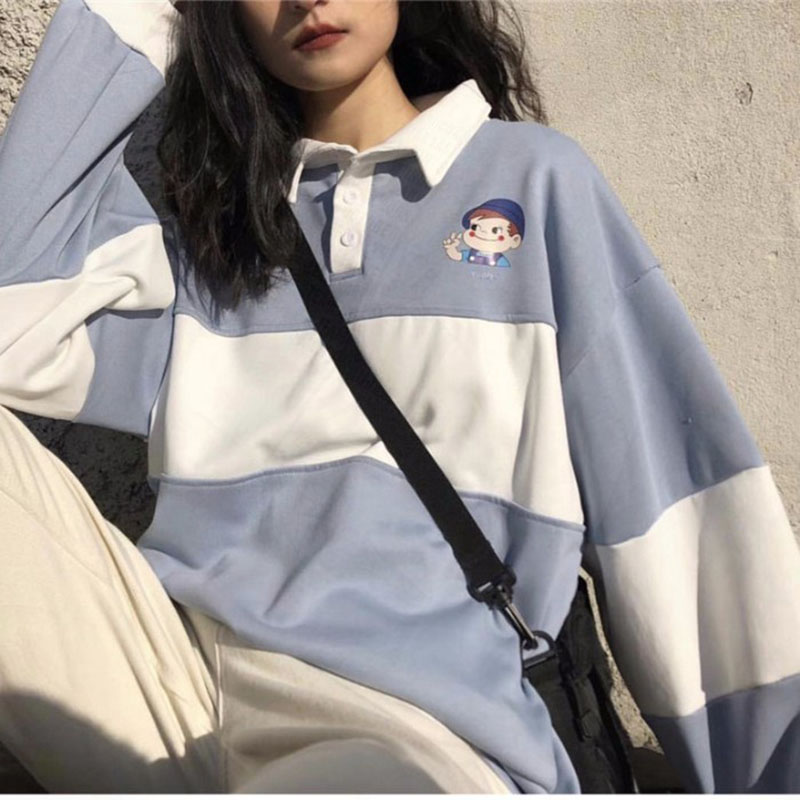 Осенние женские свитшоты в Корейском стиле, модные повседневные женские толстовки с принтом из мультфильмов, контрастных цветов свободного кроя|Футболки|   | АлиЭкспресс