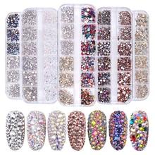 1 коробка разных размеров стеклянные стразы смешанные цвета плоская задняя AB Хрустальные Стразы 3D Шарм драгоценные камни DIY маникюр Дизайн ногтей украшения