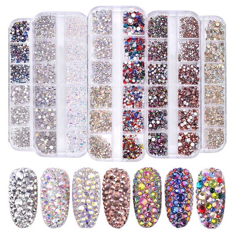 1 Box Multi Size Glass Rhinestones Mixed Colors Flat-back AB Colors Tip 3D Charms DIY Tips Manicure Nail Art Decorations
