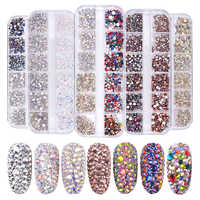1 Box Multi Size Glass Rhinestones Mixed Colors Flat-back AB Colors Tip 3D Charms DIY Tips Nail Art Decorations