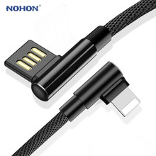 NOHON USB Data Cable 90 Degree Fast Charging Cord for iPhone 8 XR XS Max Samsung Note 9 S9 Type C Lightning Micro