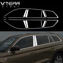 Vtear Für Skoda Kodiaq zubehör fenster chrom trim abdeckung edelstahl außen chrom auto-styling teile 2018 2019 2020