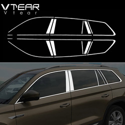 Vtear For Skoda Kodiaq accessories window chrome trim cover stainless steel exterior chromium car-styling parts 2018 2019 2020