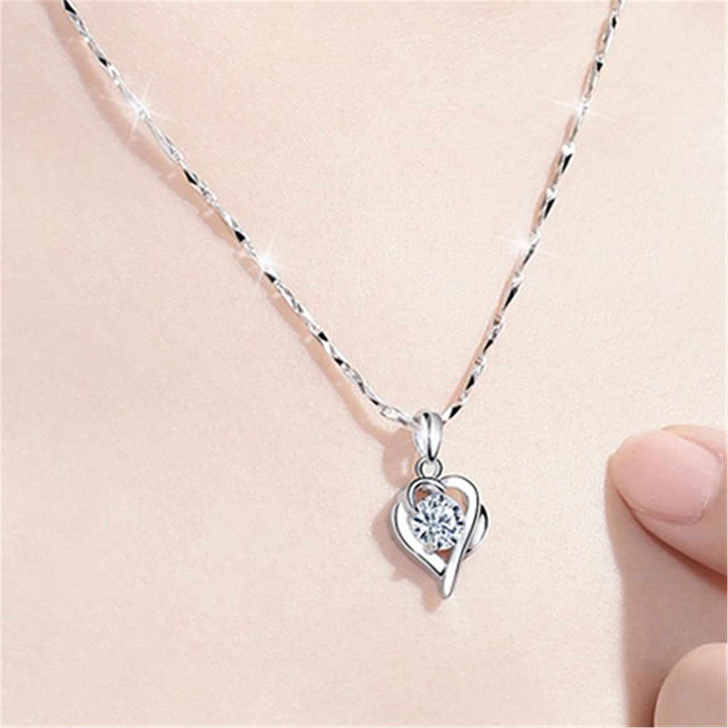 Women Silver Hollow chain necklace for girls women Students Sen temperament Clavicle Chain Love Necklace fashion gifts