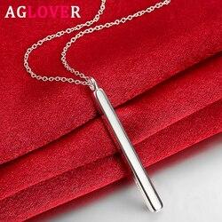 AGLOVER 925 en argent Sterling 18 pouces droit carré pilier pendentif collier pour femme hommes mode collier bijoux cadeau