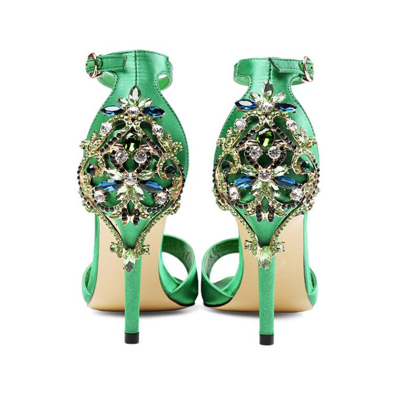 Size 34-45 Green Black Satin Bling Crystal Decoration High Heels Ankle Strap Stilettos Women Sandals Wedding Party Shoes