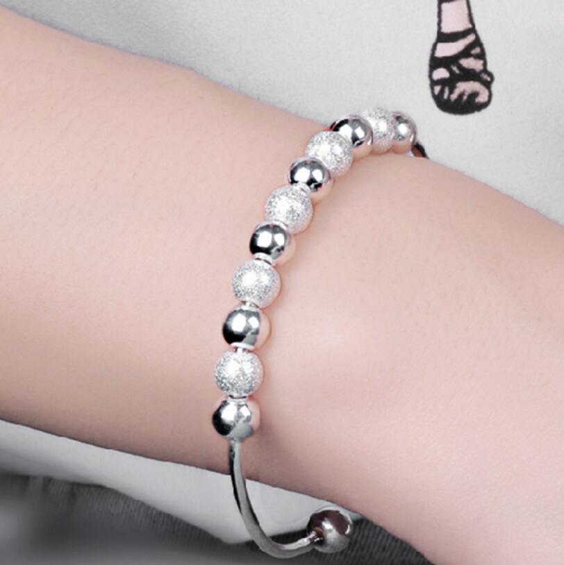Hot Sale Women 925 Sterling Silver Lucky Beads Bangles Open Cuff Bracelets & Bangles Jewelry Pulseras Of Female S-B15