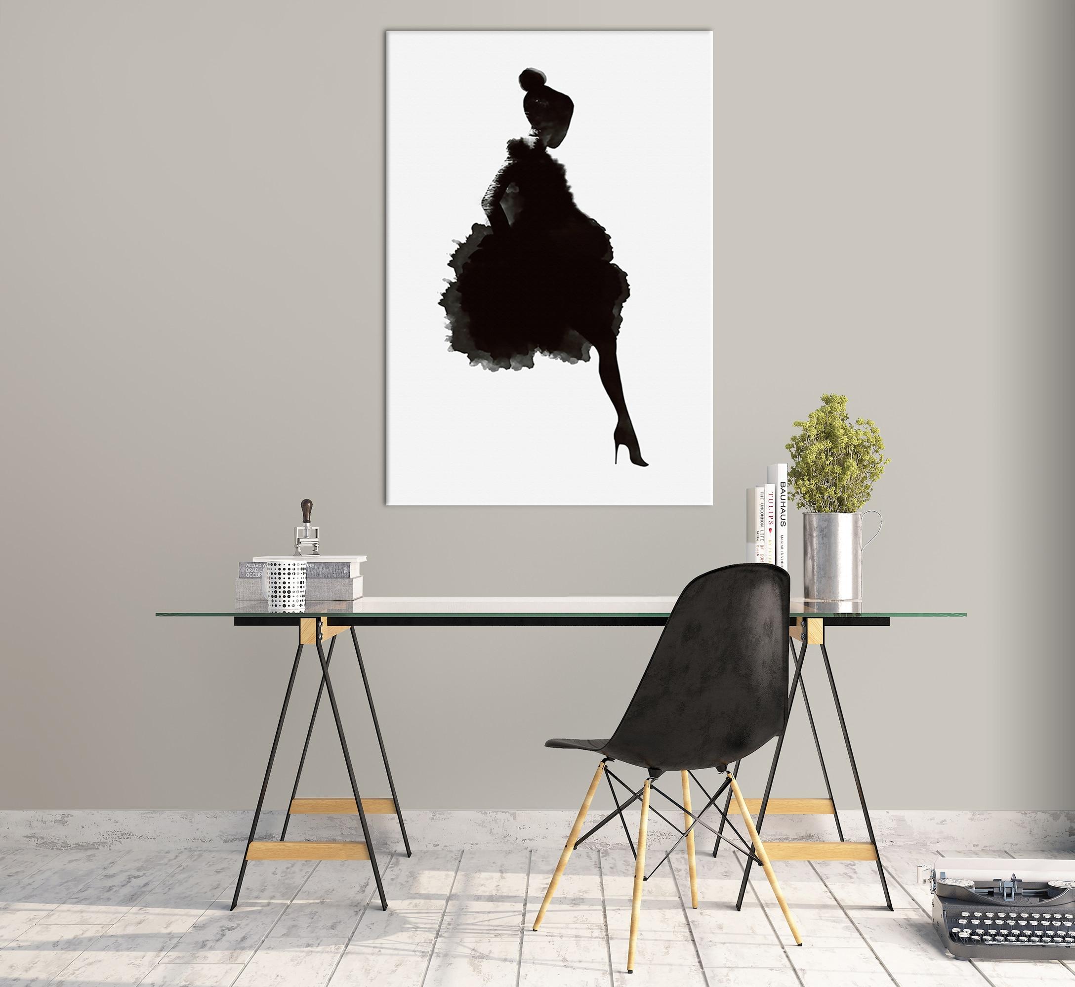 Черно белая абстрактная девушка, Настенный декор, холст, живопись, кухня, принты, картины для дома, гостиной, столовой - 3