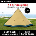 3F UL GEAR TRIBE Pyramid Tipi Tent Outdoor Camipng 4-6 Persons Large Tent 40D/210T Windproof Tent 4 season With Snow Skirt