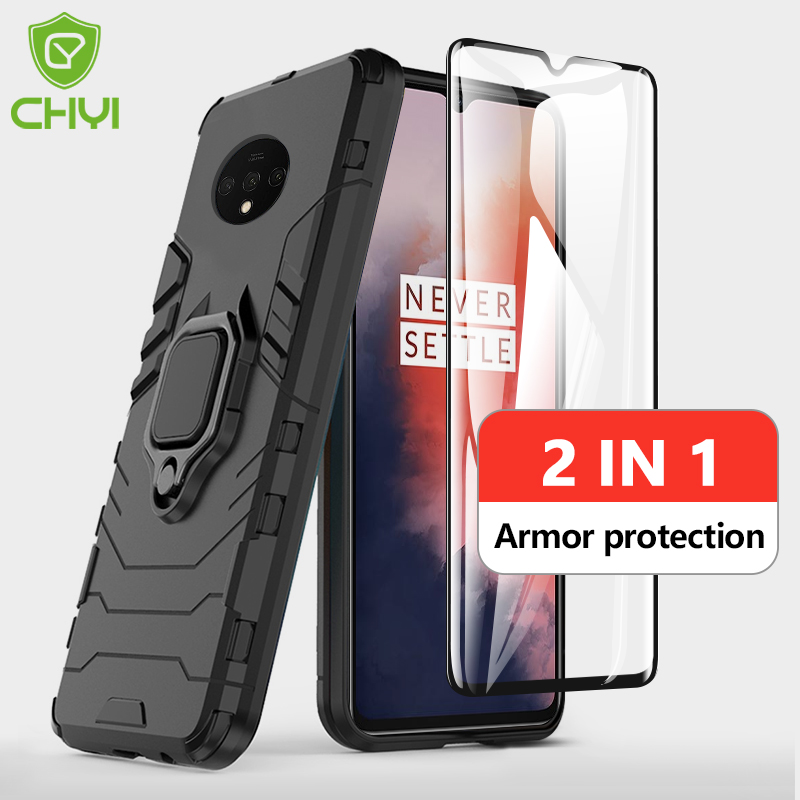 2 in 1 case + tempered glass For oneplus 7t 7 pro case Shockproof Full glue glass for oneplus 6t 7 7t Magnetic Back Phone Cover