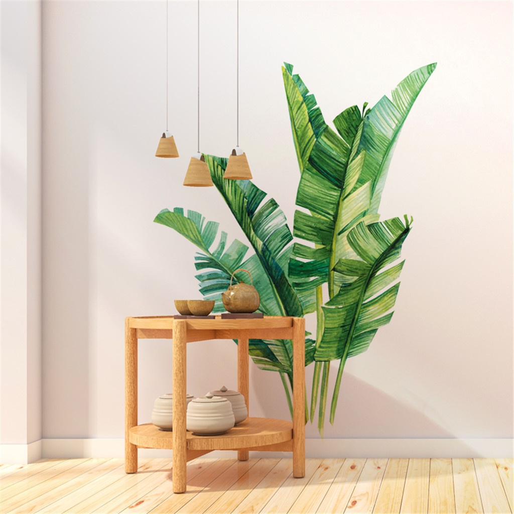 Tropical Rainforest Plant Wall Sticker Green Banana Bamboo Leaf Wall Stickers Home Childrens Room Interior Wall Stickers