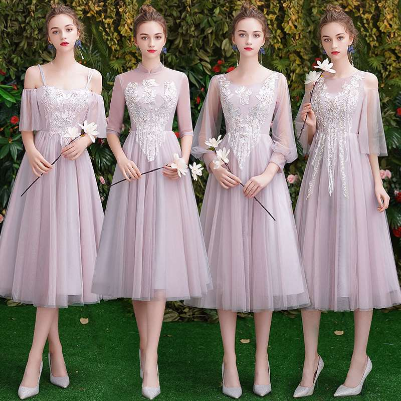 Chiffon Pink Lace Bridesmaid Dresses Elegant Wedding Party Prom Dresses Vestido De Festa Party Dresses Gala Gowns For Women 2019