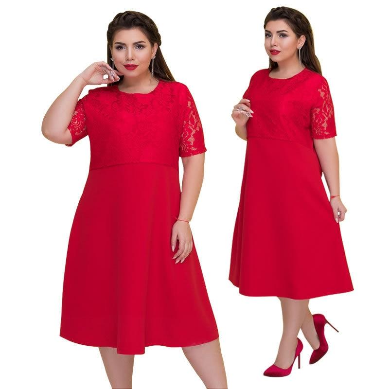 2019 Spring Ozhouzhan New Style EBay Hot Selling Lace Joint A- Line Big Hemline Large Size Dress