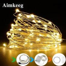 Aimkeeg медный провод светодиодный светильник-Гирлянда для вина украшение для рождественской свадебной вечеринки 1 м 2 м 3 м 5 м 10 м