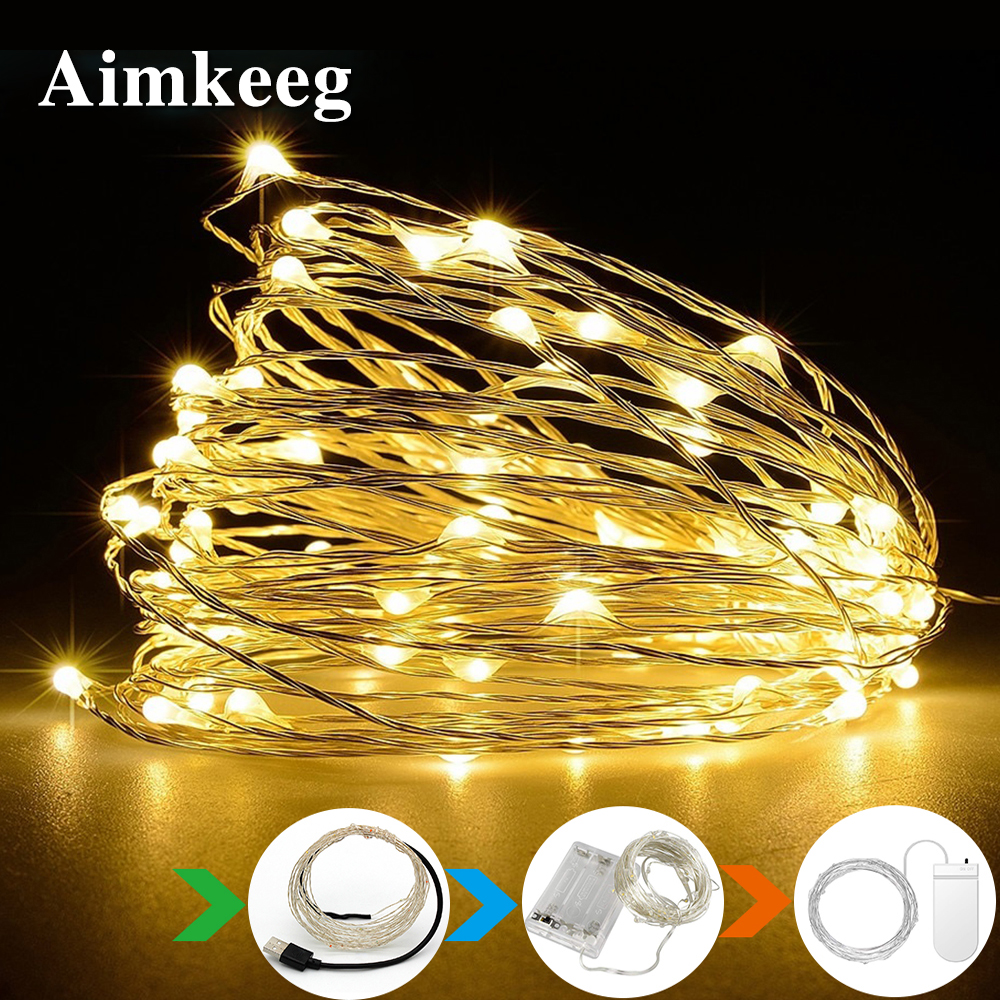 Aimkeeg Copper Wire LED String Fairy Light Wine Bottle Light Decoration For Christmas Wedding Party 1M 2M 3M 5M 10M
