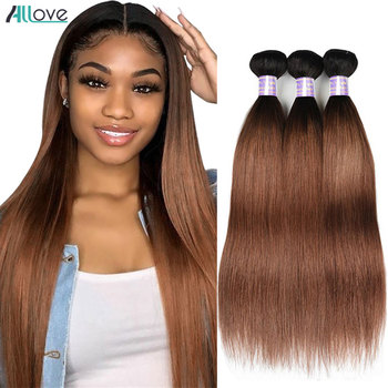 Allove Ombre Straight Hair Bundles 1B 30 Colored Human Hair Bundles #2 #4 Peruvian Brown Hair 1B 99J Burgundy Bundles Non Remy image