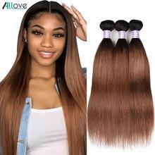 Allove mechones de cabello liso ombré 1B 30 extensiones de cabello humano mechones #2 #4, pelo marrón peruano 1B 99J, mechones Borgoña no Remy