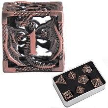 Jogo de role-playing d & d 7 de dados de metal dnd cobre puro oco poliédrico dados adequados para masmorras e dragão dragão de masmorra rpg