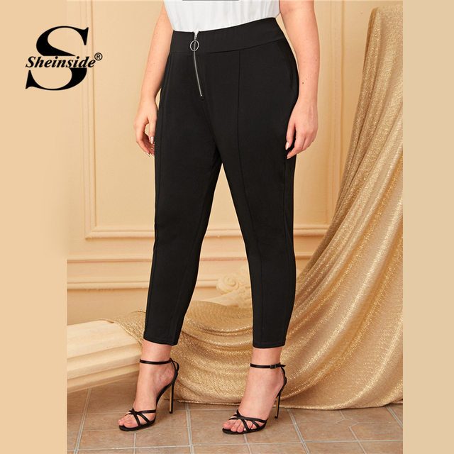 Sheinside Plus Size Black Front O-ring Zip Up Pants Women 2019 Autumn High Waist Crop Trousers Ladies Solid Skinny Pants 3