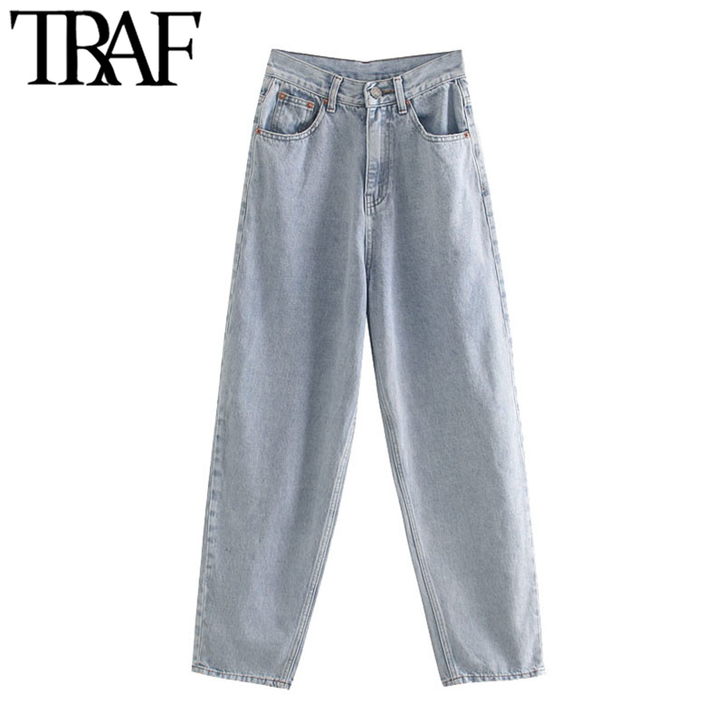 TRAF Women Chic Fashion Frayed Trim Pockets Denim Harm Pants Vintage High Waist Zipper Fly Female Jeans Pantalones