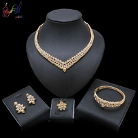 Yulaili Golden Plated Jewelry Sets For Women Luxury Wedding Bridal Rhinestone Crystal Jewelry Set Leaf Shape Jewelry Sets
