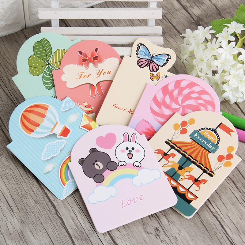 7pcs Valentine's Day Greeting Card Bouquet Flower Blessing Paper Card Folding Tanabata Cartoon Letter Office School Stationery