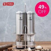 PORA-moulin à épices moulin à poivre électrique avec lumière Led salière et poivrière automatique en acier inoxydable-moulin à épices cadeau de cuisine