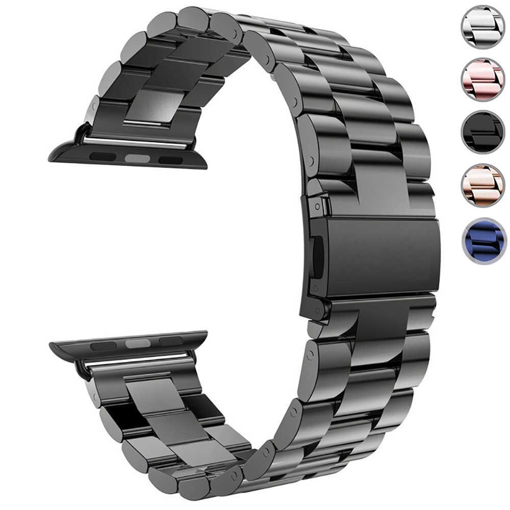 Paslanmaz çelik kayış Apple Watch için 5 4 3 2 1 Band 38mm 42mm bilezik spor bandı iWatch serisi 5 4 3/2/1 40mm 44mm kayış