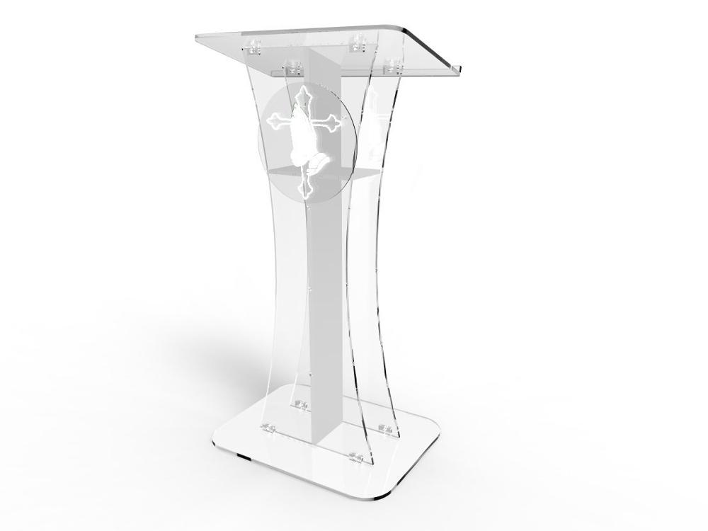 Fixture Displays Podium Clear Ghost Acrylic  White Cross With Pray Hand  Easy Assembly Required Plexiglass