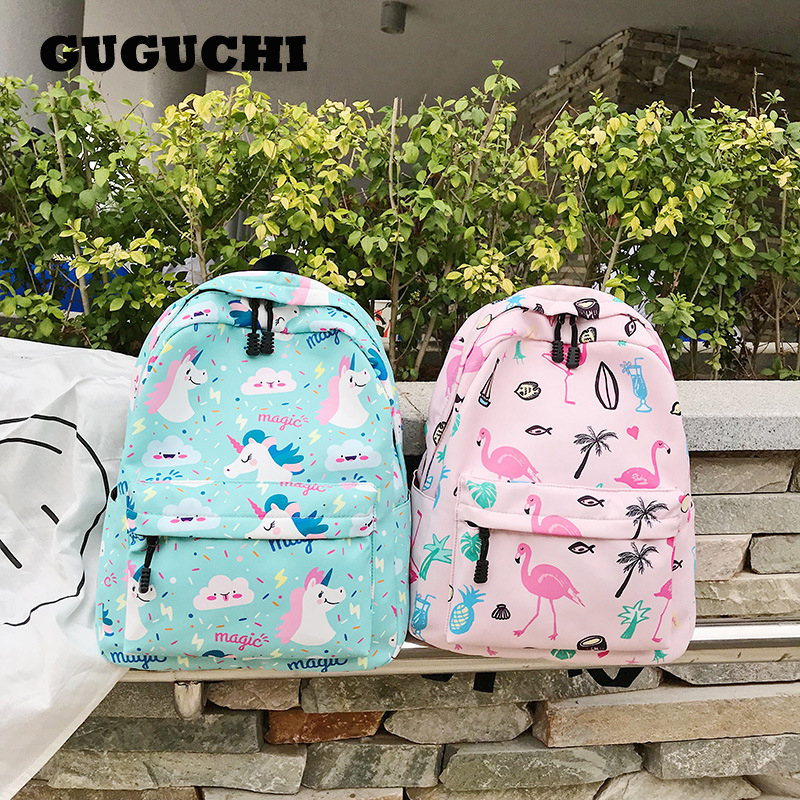 Backpack Women Cartoon Cute Flamingo Unicorn Canvas Backpacks Female Zipper Student School Bags Shoulder Bags For Girls