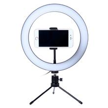 Photography LED Selfie Ring Light 26CM Dimmable Camera Phone Ring Lamp 10inch With Table Tripods For Makeup Video Live Studio photography led selfie ring light 26cm dimmable camera phone ring lamp with tripod bluetooth remote for makeup video live studio