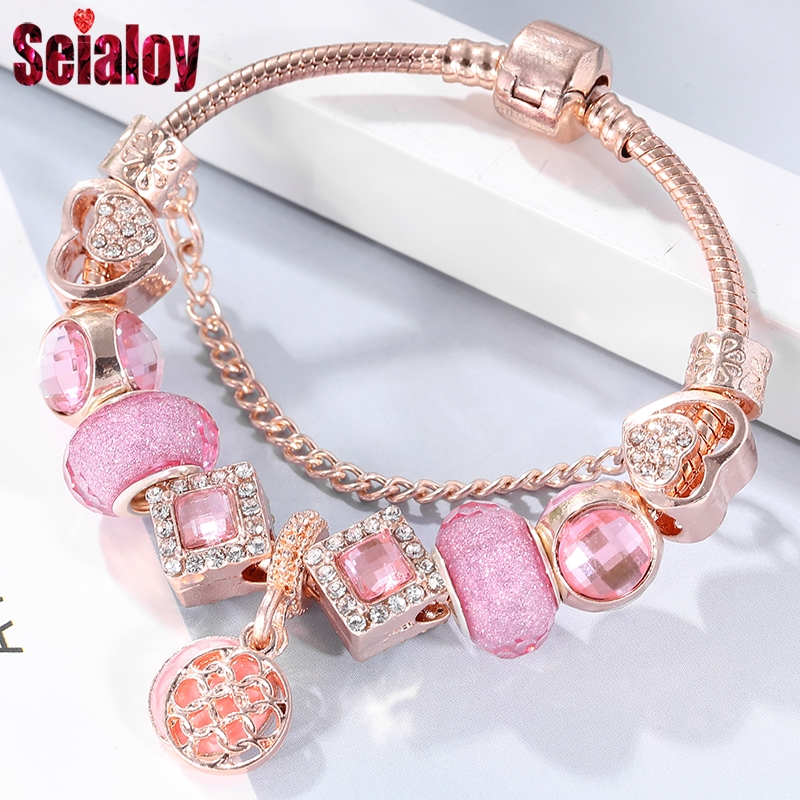 Seialoy Rose Gold Charm Bracelets For