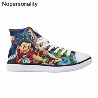 Nopersonality Men Vulcanize Shoes Autumn High top Sneakers 3D Printing Anime Beyblade Burst Evolution Boy Cool Cartoon Sneakers