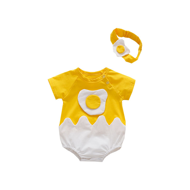Baby Boy Romper Short Sleeve Romper Infant Summer Costumes Cartoon Fried Egg Outfits with Headband Suits Set Infant Girls Romper