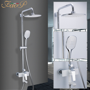 Image 5 - FAOP Shower system gold bathroom shower sets brass waterfall shower heads faucet for bathroom mixer luxury rainfall faucets