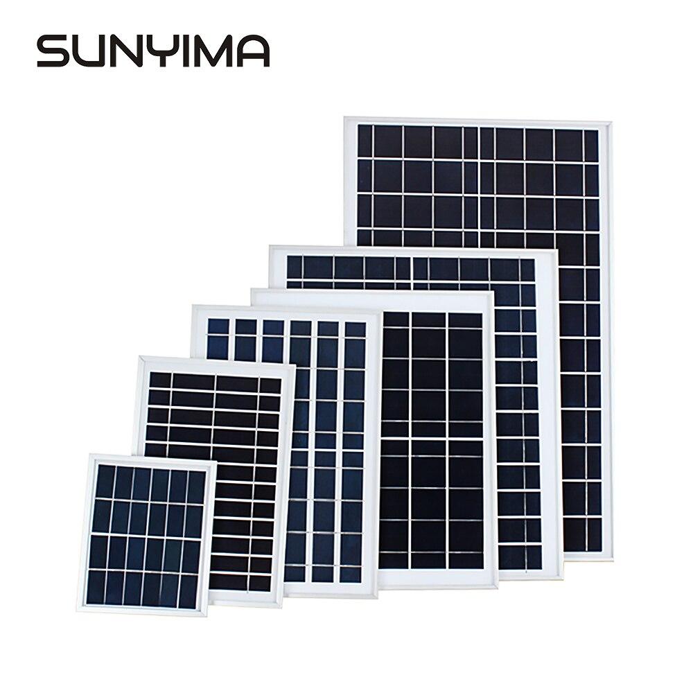 Panel Solar SUNYIMA6V 3W/6W/10W/15W/18W, placa fotovoltaica recargable, montaje de Panel Solar de polisilicio, lámpara de calle, cargador DIY Wallpad L6, toma de corriente blanca cuádruple de 4 vías, enchufe alemán de la UE, toma de corriente Schuko, toma de pared con Panel de vidrio templado de 344x86mm, 4 puertos, 4 entradas