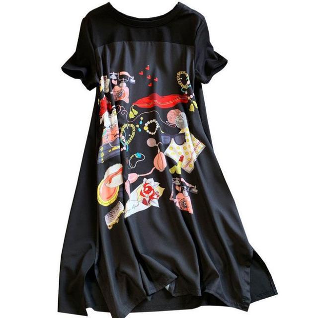 Casual Long Dress Short Sleeves Loose Vintage Spliced Floral Pattern  2