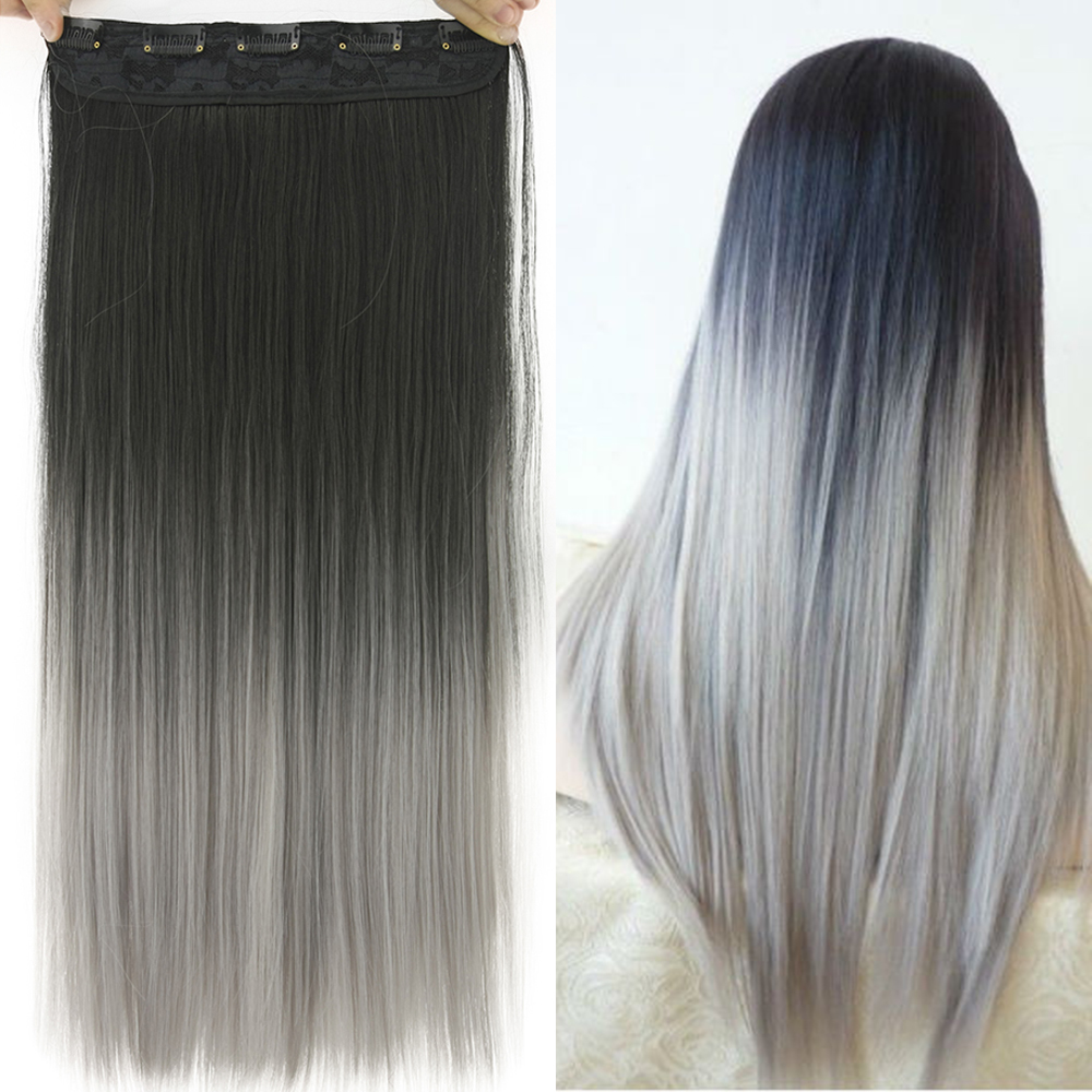 Soowee 60cm Synthetic Hair Straight Black To Ombre Hair 5 Clip In Hair Extensions Hairpiece False Hair On Hairpins For Women