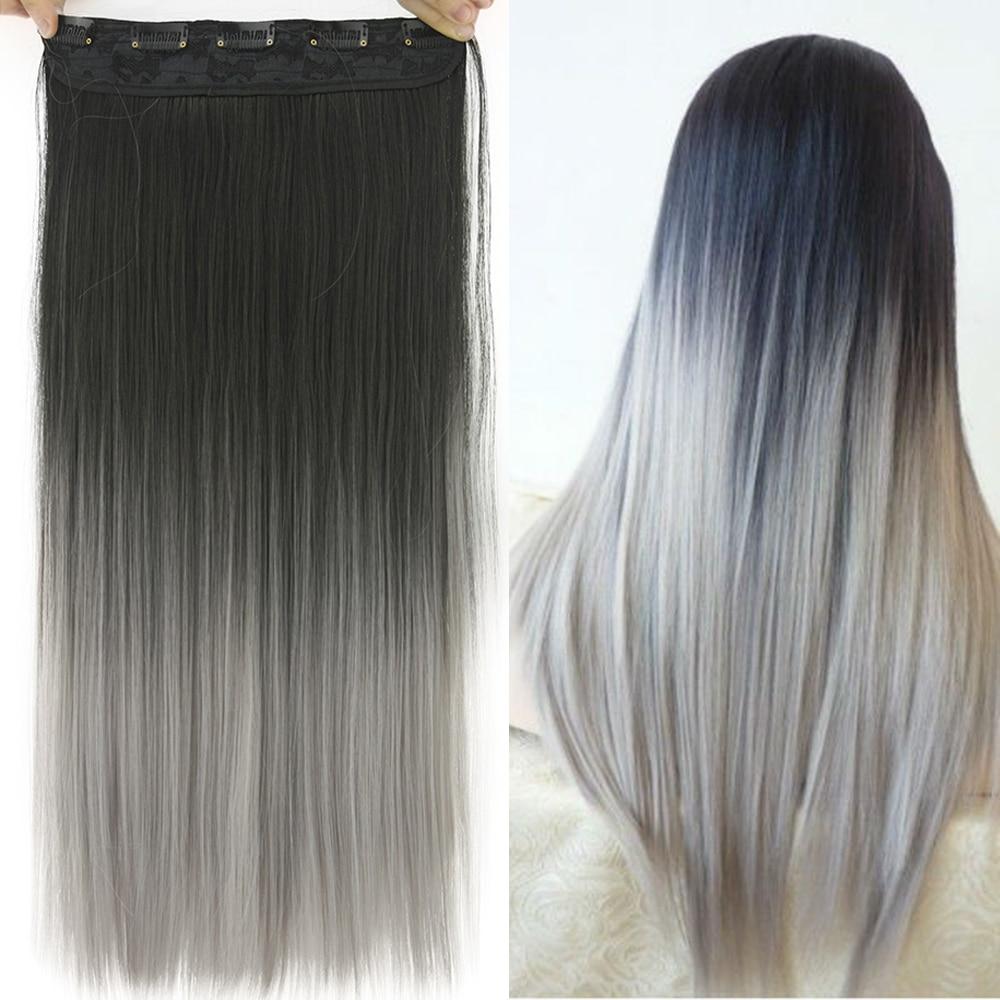 Soowee-extensiones de cabello sintético para mujer, pelo liso de 60cm, negro a ombré, 5 pinzas, horquillas de pelo falso