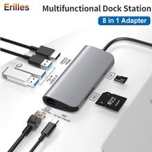 8 в 1 Тип-C ПК USB-концентратор адаптер HDMI 4K с поддержкой технологии Thunderbolt 3 C до гигабита RJ45 многопортовый Ethernet для быстрой зарядки ДР