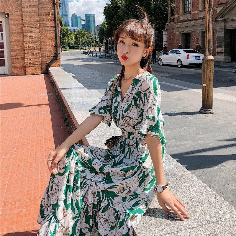 2020 Plus Size New Summer Dress Girls Boho Party Female Vintage Dress print long Sleeve Women Dresses long oversize Robe Vestido