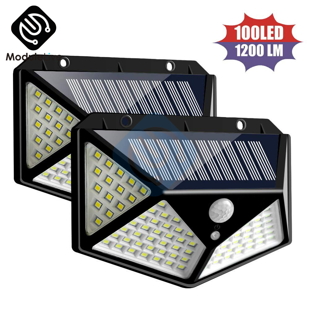 100LEDS 1200LM Solar Light Outdoor Waterproof  PIR Motion Sensor Wall Light Solar Lamp SMD 2835 4-Side LED Light For Garden Yard