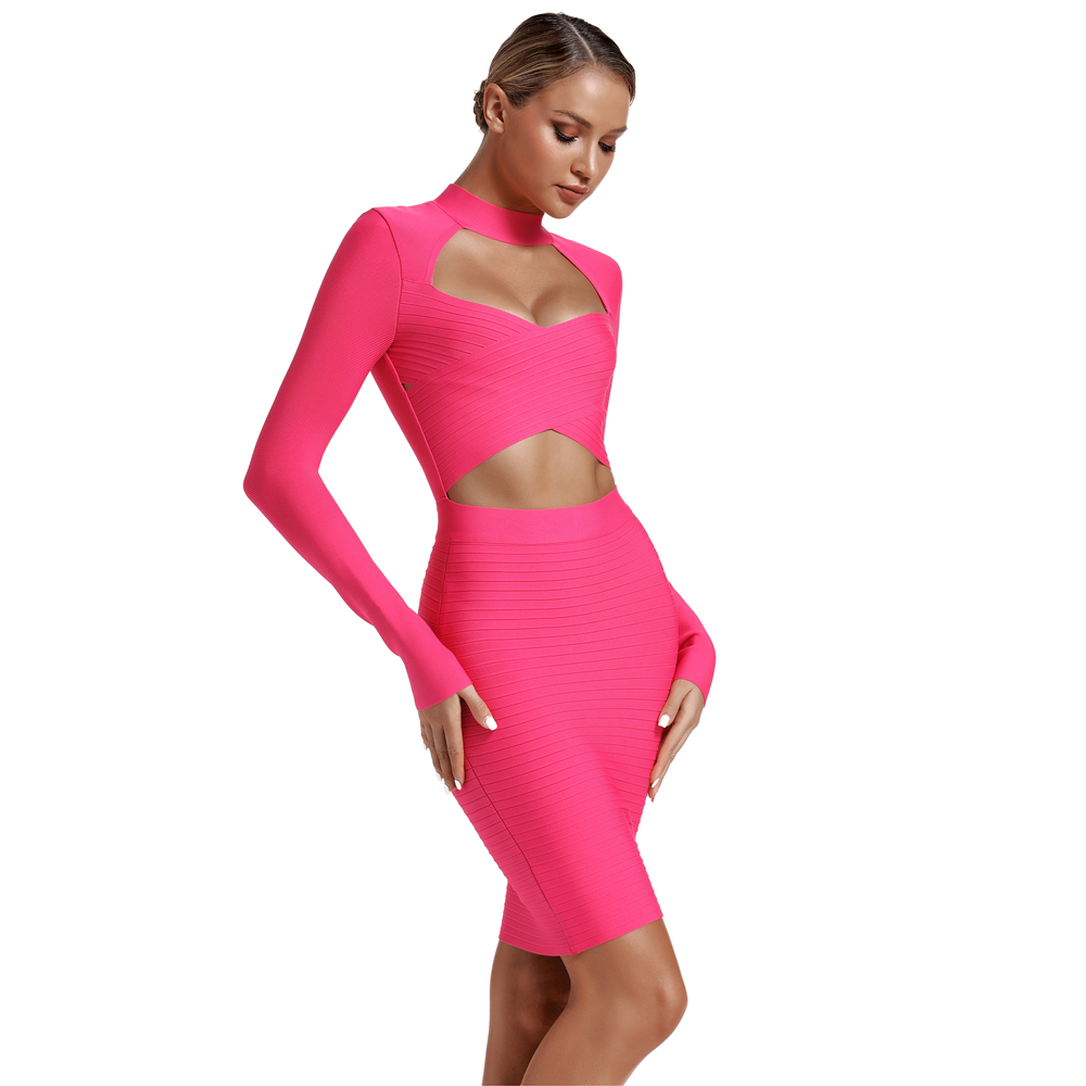 Ocstrade Vestidos Bandage Dress 2019 Women New Fashion Hot Pink Bandage Dress Sexy Cut Out Club Party Long Sleeve Bodycon Dress