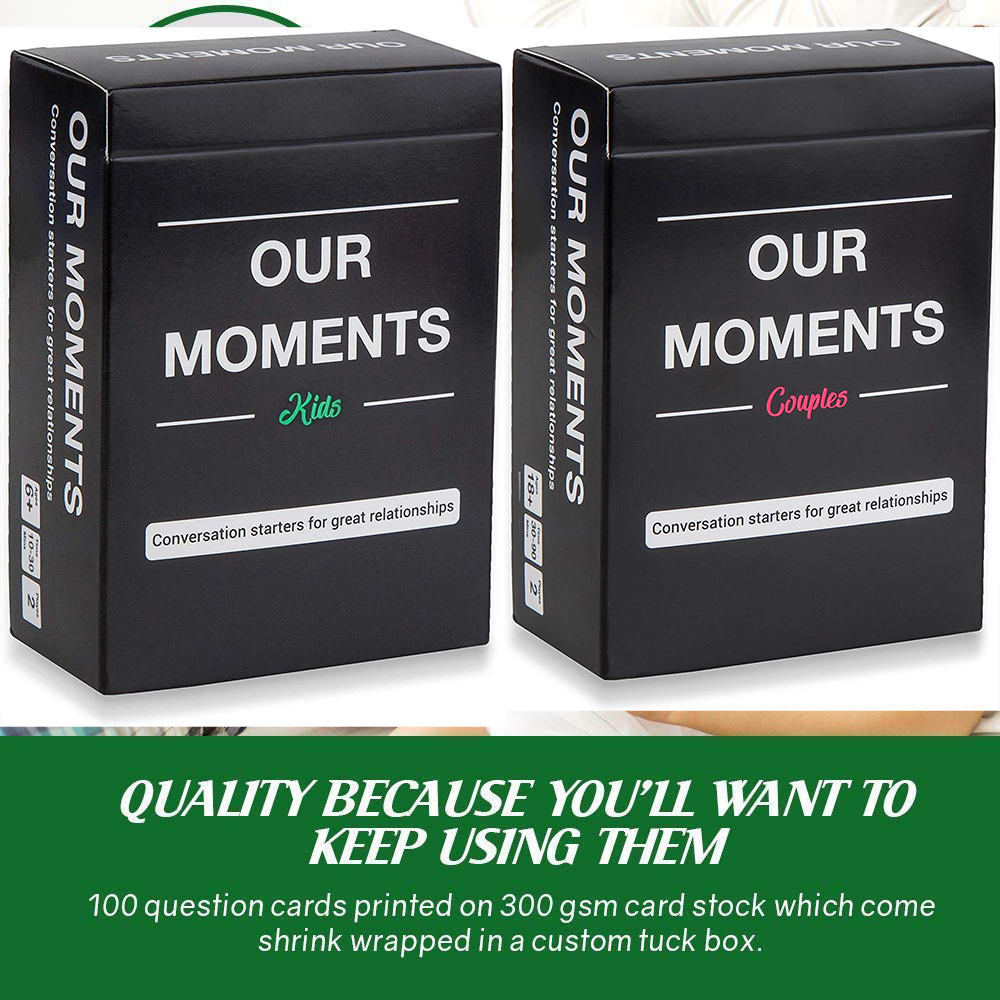 OUR MOMENTS Couples 100 Thought Provoking Conversation Starters Great Relationship Board Game Family Cards Kids Adult Toys image