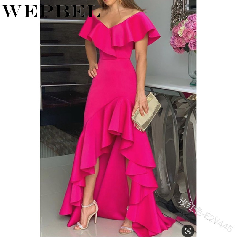 WEPBEL Women Ruffles V Neck Sexy Dress Short Sleeve Casual Fashion Ladies Female Long Maxi Dresses